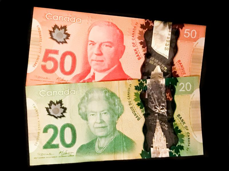 Banknotes of the Canadian Dollar. Including a $50 and $20 denomination stock image