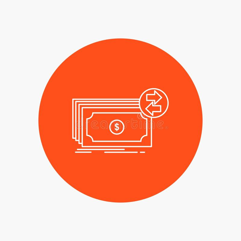 Banknotes, cash, dollars, flow, money White Line Icon in Circle background. vector icon illustration vector illustration