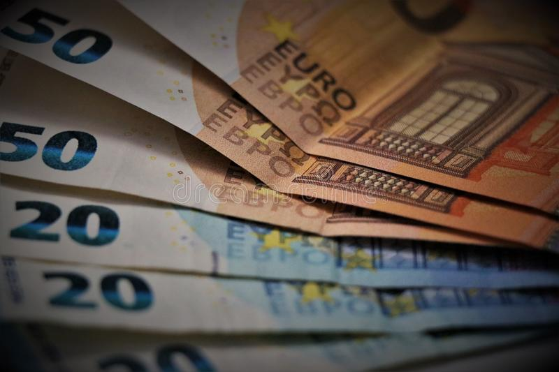 Euro currency. Banknotes of the European Union. royalty free stock photos