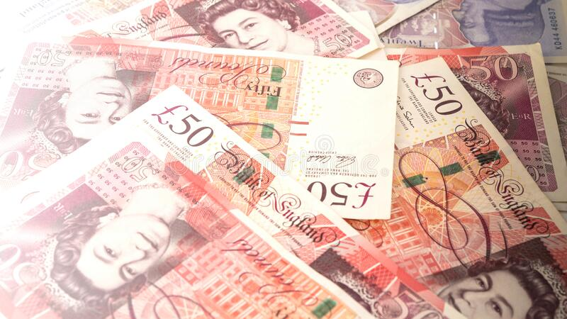 Banknotes in denominations of fifty pounds, money, United Kingdom stock photos
