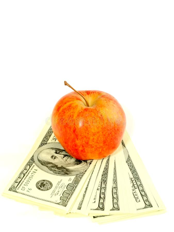 Download Banknotes Of Dollars And Apple Isolated On A Whit Stock Photo - Image of money, full: 8163548