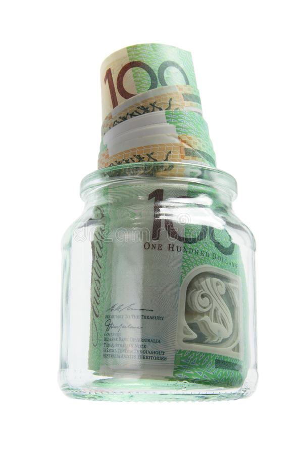 Banknotes In Glass Jar Royalty Free Stock Photography