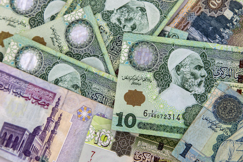 Libyan money. The dinar is the currency of Libya stock image