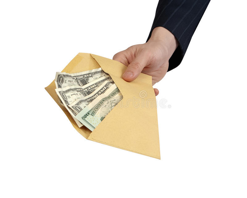 Banknotes offered in Envelope. Closeup of businessman's hand holding out an envelope full of money towards you. [with Clipping Path and isolated on white royalty free stock image