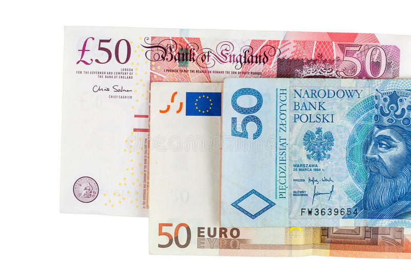 Banknotes Of 50 Pounds Euro And Polish Zloty Stock Image - Image of different, note: 47830735