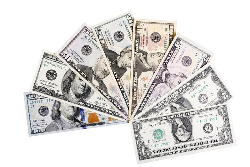 Banknotes of United States of America, dollars. There are all included - 100, 50, 20, 10, 2 and a 1 dollar bills. royalty free stock photography