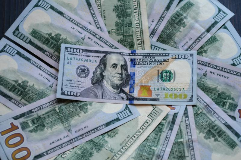 Banknotes US $ 100 listed in the circle. 100 listed in the circle stock images