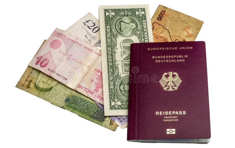 Banknotes from USA, Uganda, England, Turkey and Jordan under a p stock image
