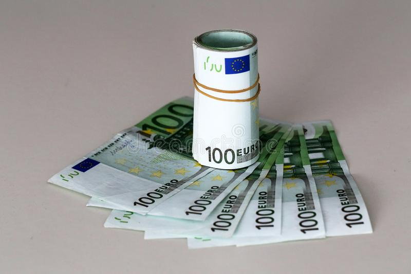 Banknotes worth 100 euros are on the table.  royalty free stock photography
