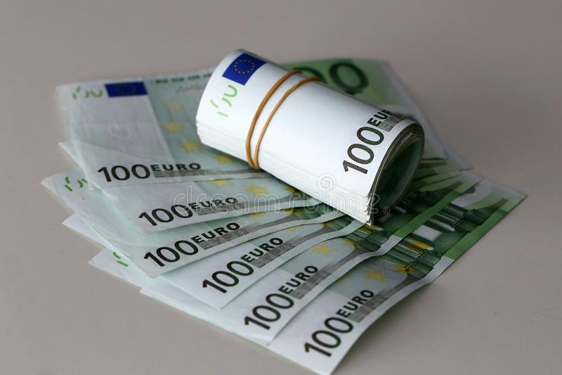 Banknotes worth 100 euros are on the table.  royalty free stock photos