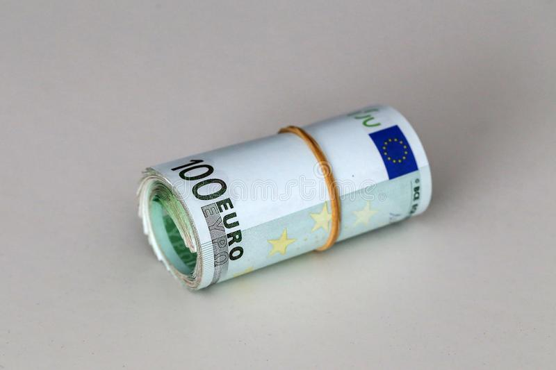 Banknotes worth 100 euros are on the table.  stock photos