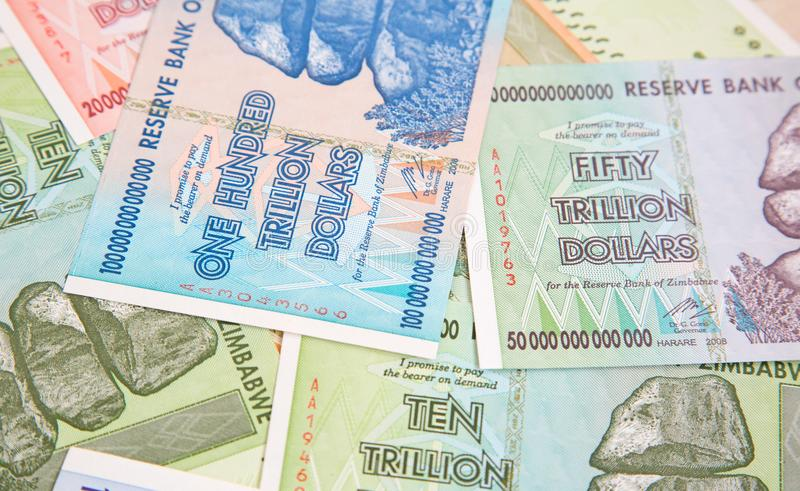 Banknotes. Of Zimbabwe after hyperinflation stock photography