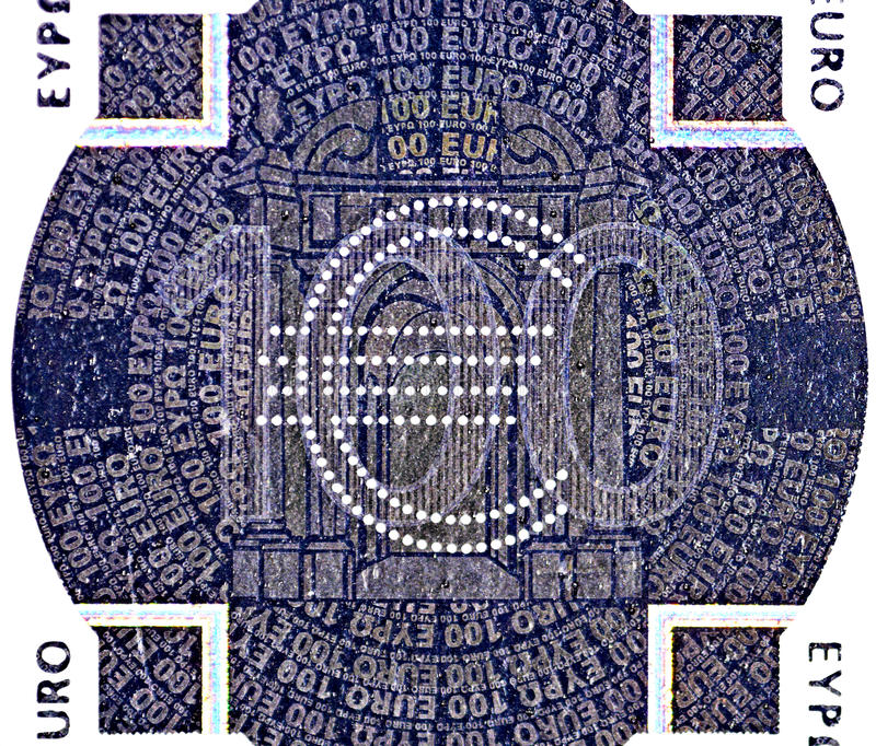 banknotu łaty euro holograficzna sto jeden obrazy stock