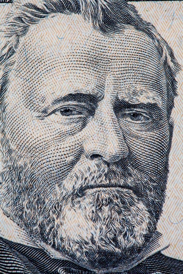 banknotu czarny dolarów pięćdziesiąt dotacja odizolowywał obrazka portret s Ulysses my biały Grant portret na 50 dolara amerykańs fotografia stock