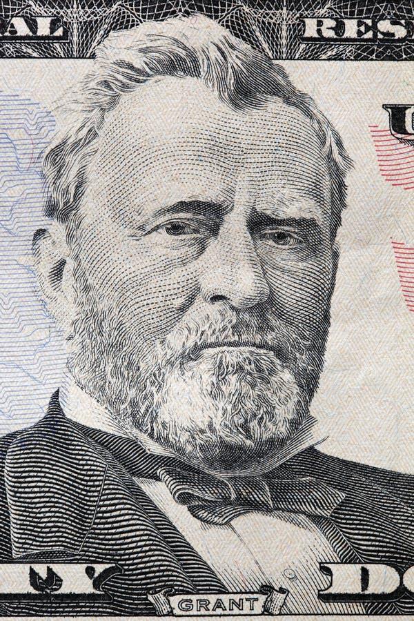 banknotu czarny dolarów pięćdziesiąt dotacja odizolowywał obrazka portret s Ulysses my biały Grant portret na dwadzieścia dolarow fotografia royalty free