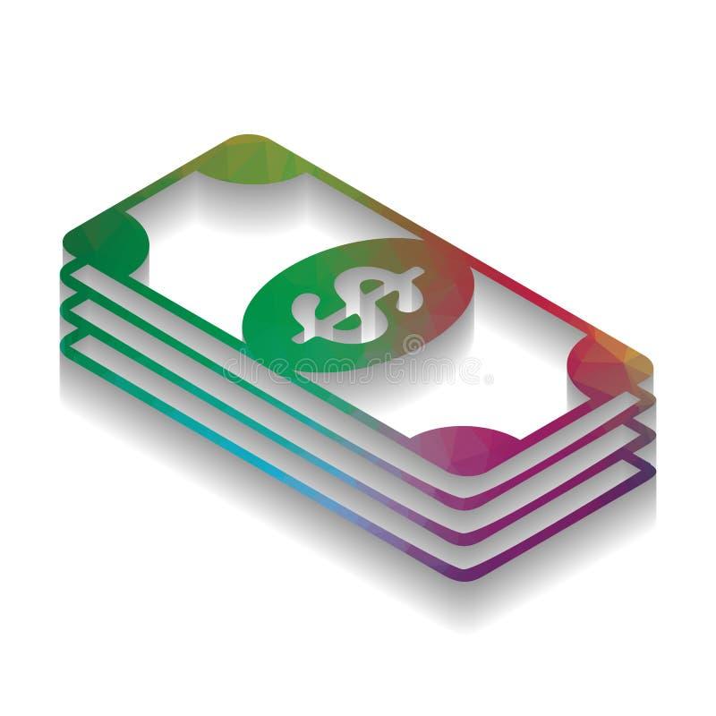 Banknotu dolarowy znak wektor Kolorowa ikona z jaskrawą teksturą royalty ilustracja