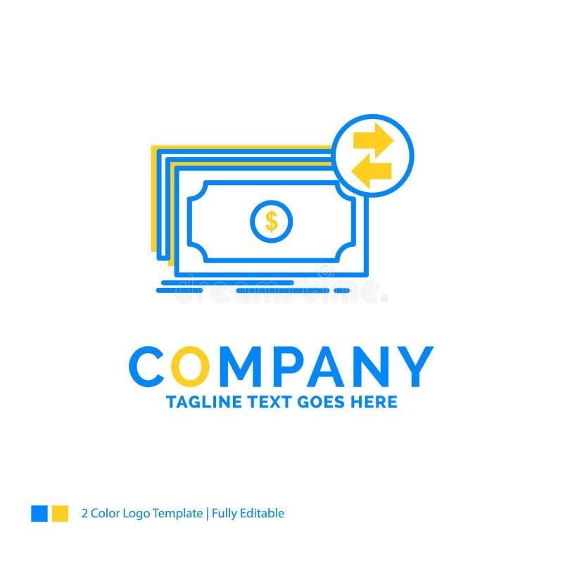 Banknoty, gotówka, dolary, przepływ, pieniądze Błękitny Żółty Biznesowy logo ilustracji