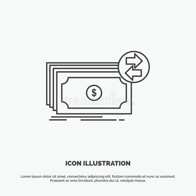 Banknoty, gotówka, dolary, przepływ, pieniądze ikona Kreskowy wektorowy szary symbol dla UI, UX, strona internetowa i wisz?cej oz ilustracja wektor