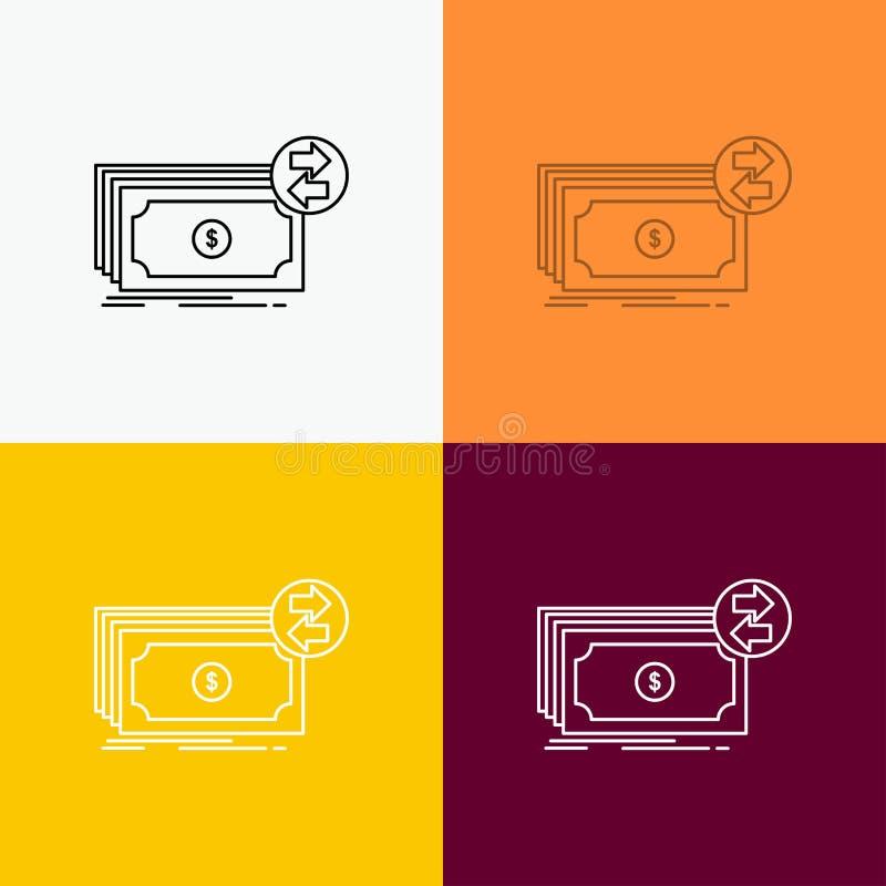 Banknoty, gotówka, dolary, przepływ, pieniądze ikona Nad Różnorodnym tłem Kreskowego stylu projekt, projektuj?cy dla sieci i app  ilustracji