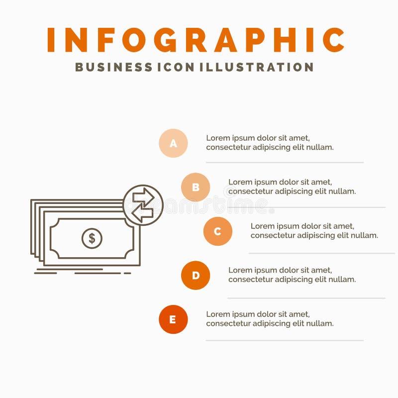 Banknoty, gotówka, dolary, przepływ, pieniądze Infographics szablon dla strony internetowej i prezentacja, Kreskowa Szara ikona z ilustracja wektor