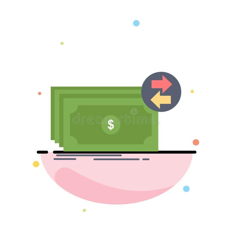 Banknoty, gotówka, dolary, przepływ, pieniądze koloru ikony Płaski wektor ilustracji