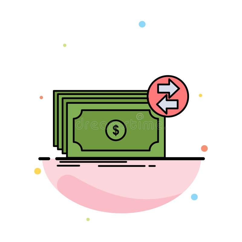 Banknoty, gotówka, dolary, przepływ, pieniądze koloru ikony Płaski wektor royalty ilustracja