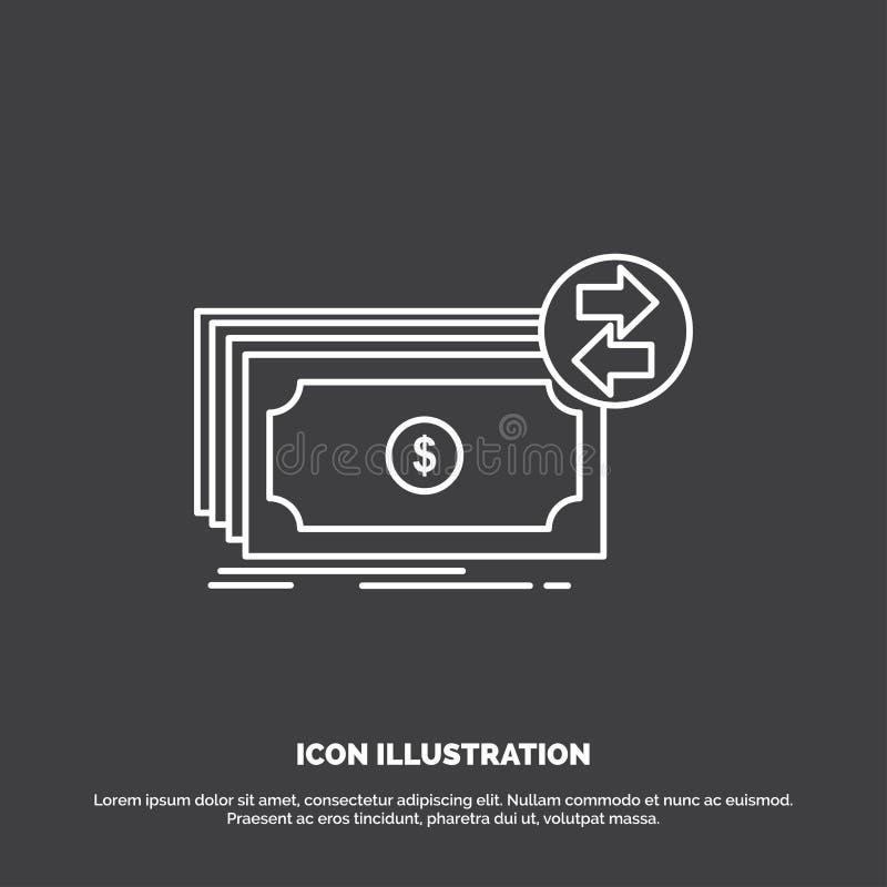 Banknoty, got?wka, dolary, przep?yw, pieni?dze ikona Kreskowy wektorowy symbol dla UI, UX, strona internetowa i wisz?cej ozdoby z ilustracji