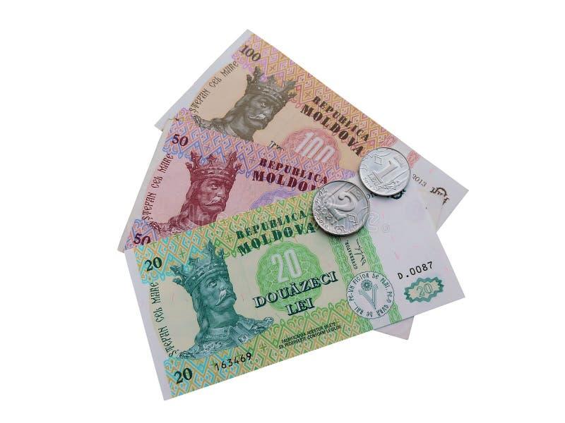 Banknoty i monety Moldova obraz royalty free