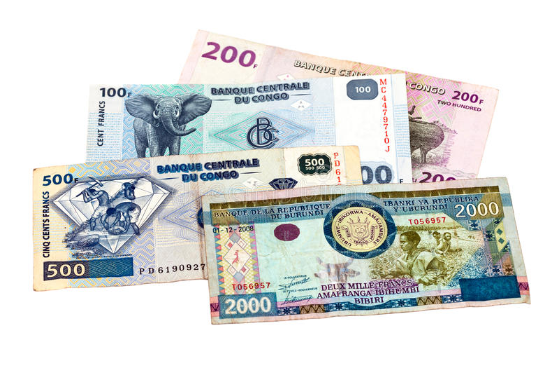 Banknoty Kongo i Burundi zdjęcia royalty free