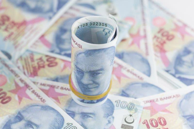 banknoty tureckich lir?w 100 turkish Sto Tureckich lir?w fotografia stock