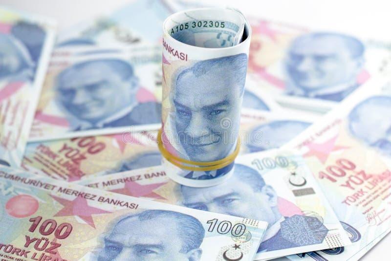 banknoty tureckich lir?w 100 turkish Sto Tureckich lir?w obraz stock