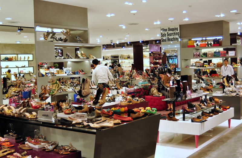 Bankok, Thailand: Footwear Boutique at Central World. Hundreds of different styles of designer shoes on display at the footwear boutique in the upscale ZEN stock photos