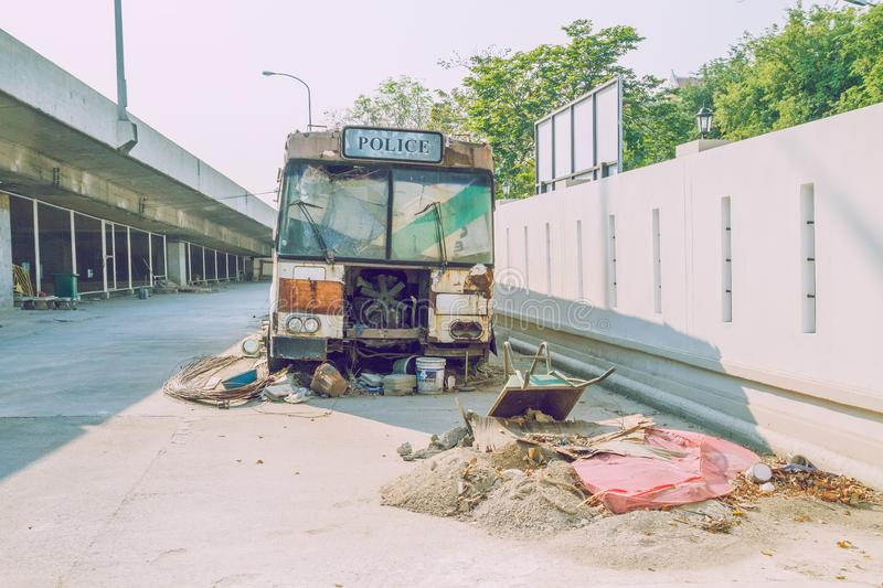 Bankok, Thailand urban street view. Buildings and streets. City Bankok, Thailand, 2016 City street, buildings, old police bus. Urban street view, tuk-tuk and royalty free stock images