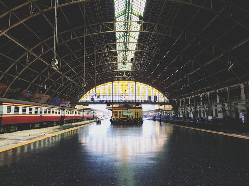 The Bankok train station. Hua Lamphong, or Bangkok Train Station, is the main terminal to northern, eastern, northeastern and southern Thailand. It connects with stock image