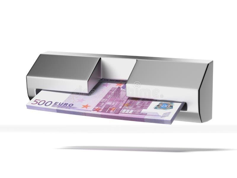 Bankomat och bunt av euro royaltyfri illustrationer