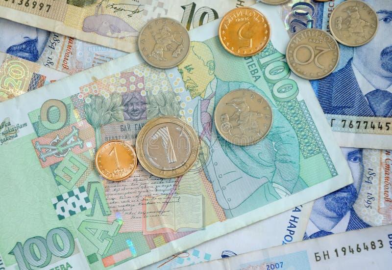 Bankonotes y monedas búlgaros foto de archivo