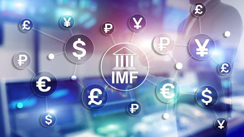 Bankorganisation Internationalen W?hrungsfonds IWF globale Gesch?fts-Konzept auf unscharfem Hintergrund lizenzfreie stockbilder