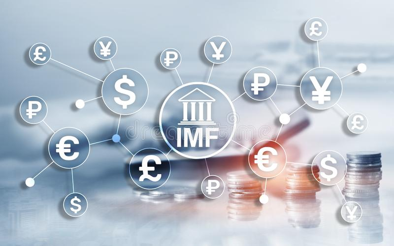 Bankorganisation Internationalen W?hrungsfonds IWF globale Gesch?fts-Konzept auf unscharfem Hintergrund lizenzfreie stockfotografie