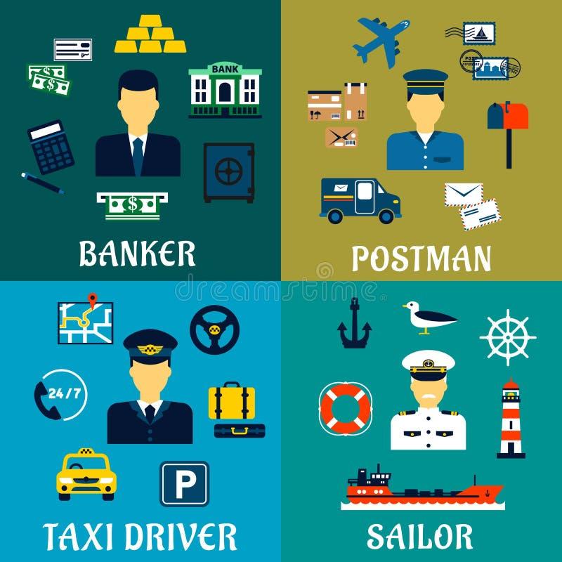 Bankowa, taksówkarza, listonosza i żeglarza ikony, royalty ilustracja