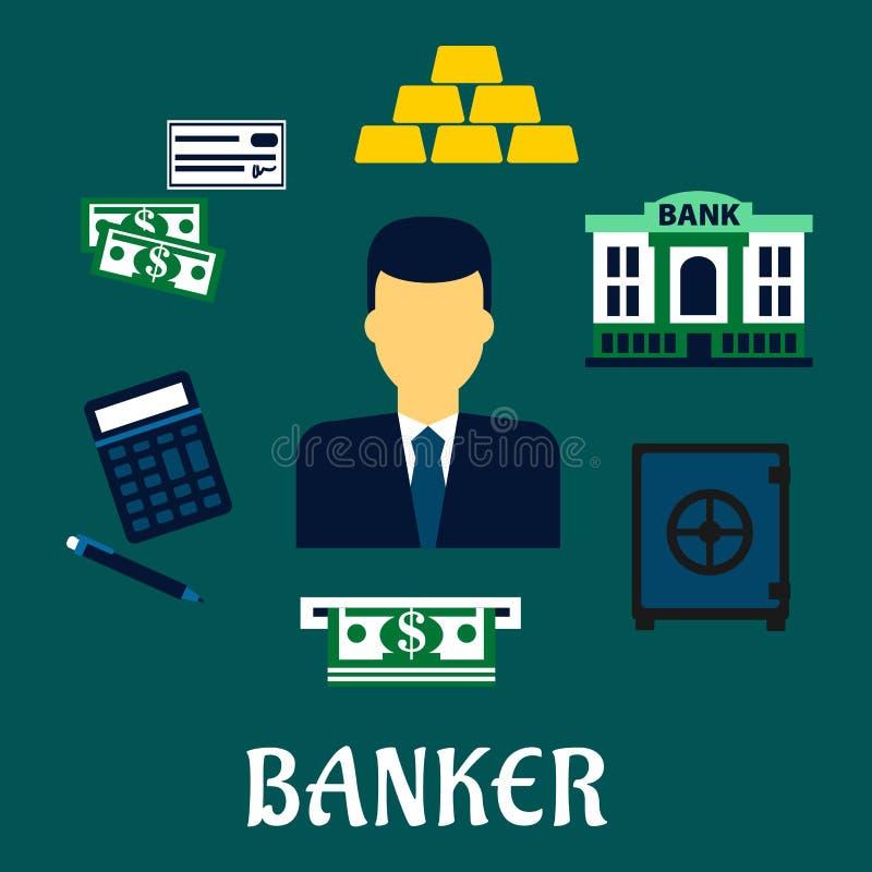 Bankowa zawodu pojęcie z pieniężnymi ikonami ilustracja wektor