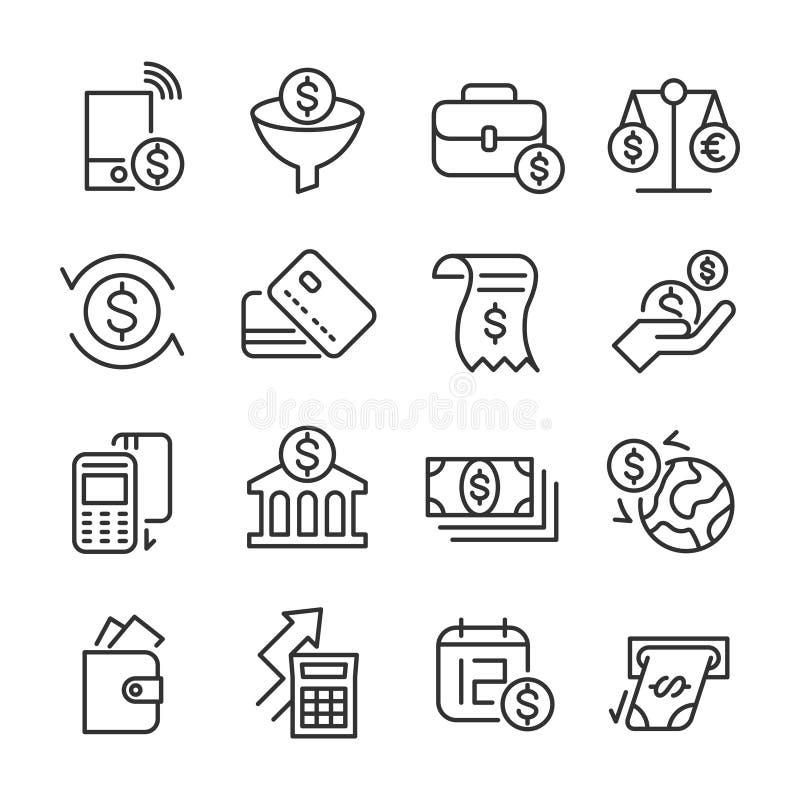 Bankowość i pieniądze - Kreskowe ikony Ustawiać ilustracja wektor