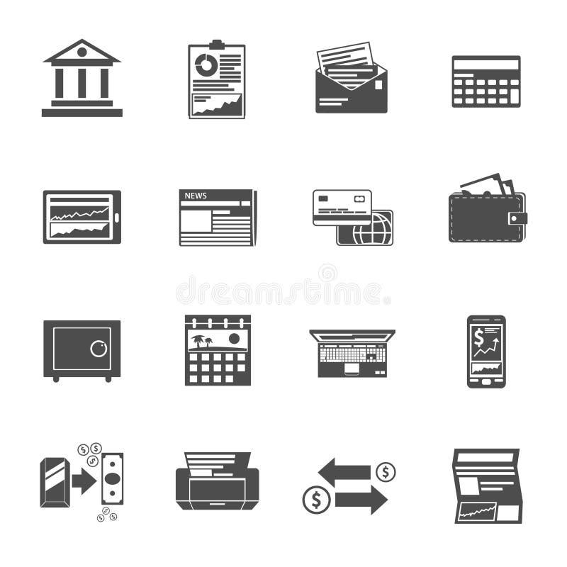 Bankowość ikon czerni set ilustracja wektor
