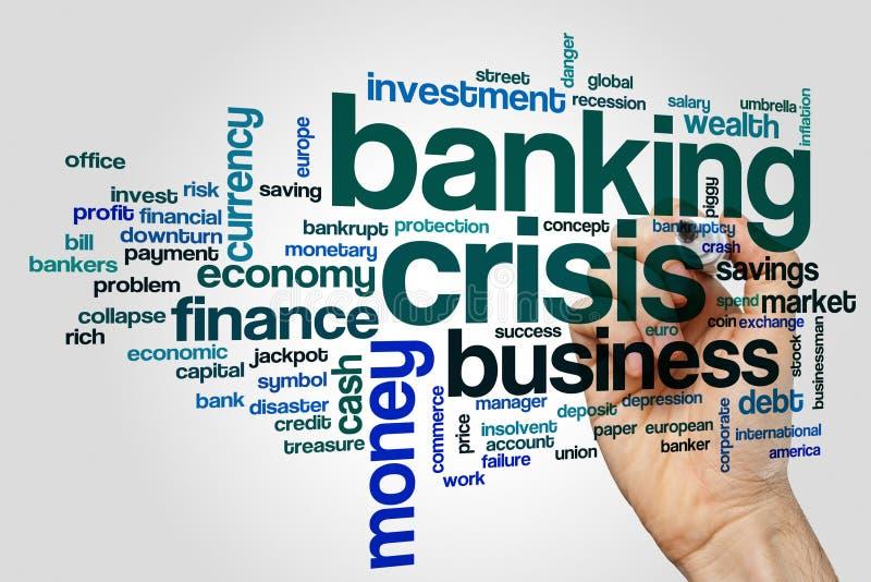 Bankowość kryzysu słowa chmury pojęcie na popielatym tle zdjęcie royalty free