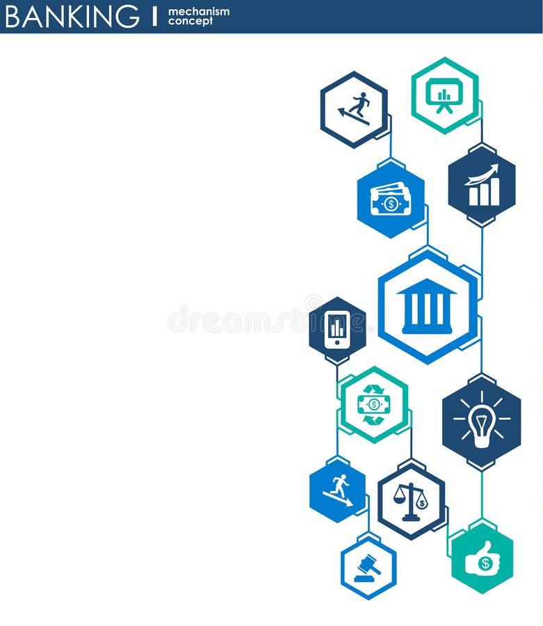 Bankowość mechanizm Abstrakcjonistyczny tło z związanymi przekładniami i zintegrowanymi płaskimi ikonami symbole dla pieniądze, k royalty ilustracja