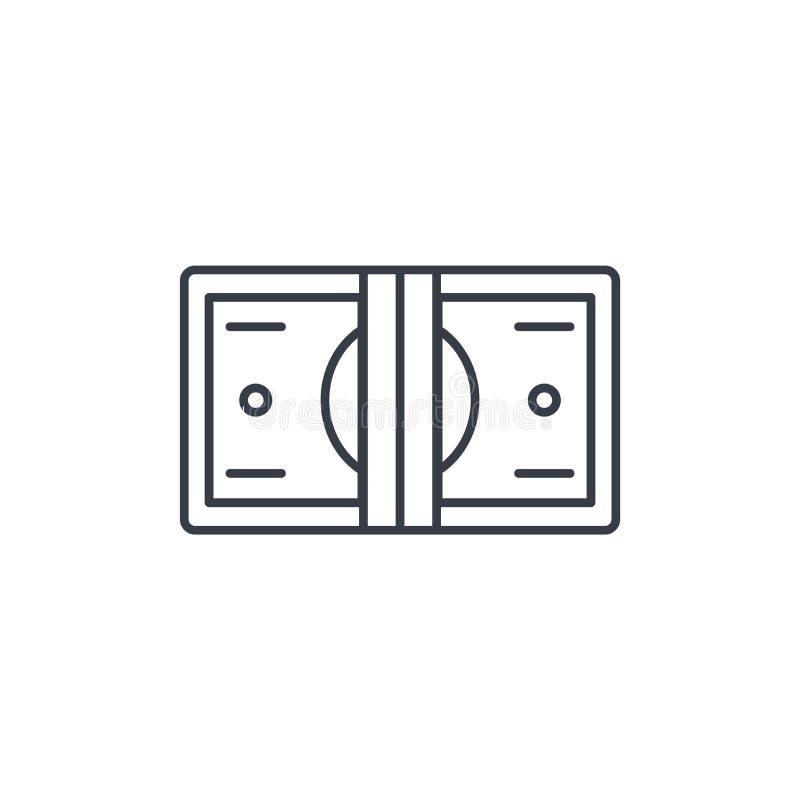 Bankowość, pieniądze plik, dolarowi banknoty cienieje kreskową ikonę Liniowy wektorowy symbol ilustracja wektor