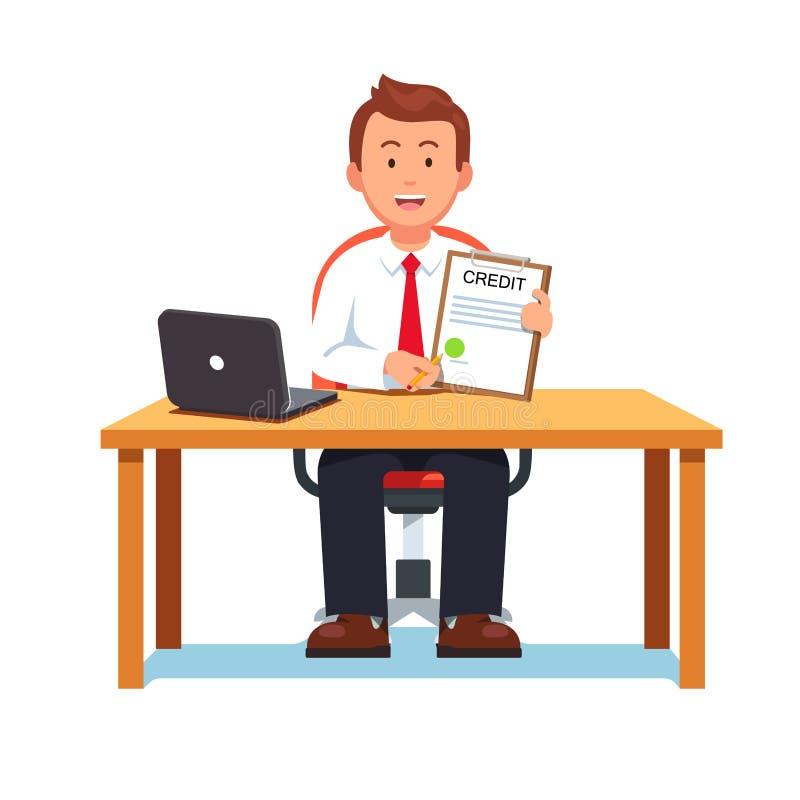 Bankowość urzędnik pokazuje banka kredyt lub pożyczkowego kontrakt royalty ilustracja