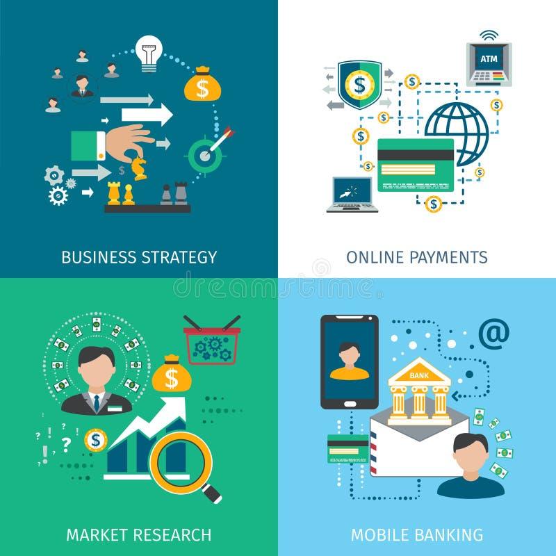 Bankowość Wprowadzać na rynek ikony Ustawiać ilustracja wektor