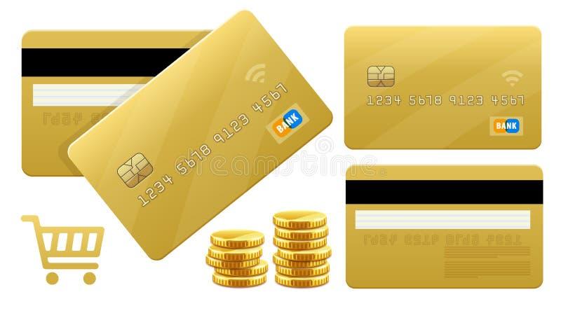 Bankowości credt złociste karty dla zapłat karcianym przerobem również zwrócić corel ilustracji wektora ilustracja wektor