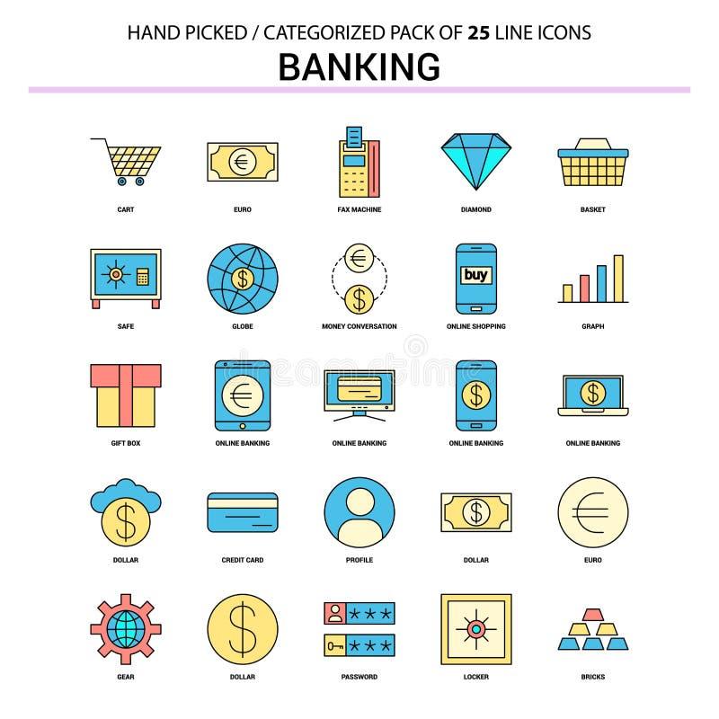 Bankowości mieszkania linii ikona Ustawiająca - Biznesowy pojęcie ikon projekt royalty ilustracja