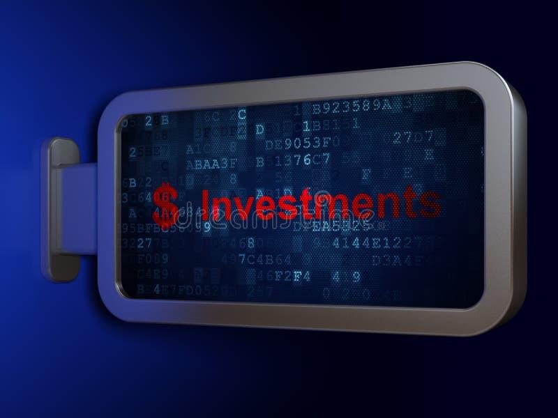 Bankowości pojęcie: Inwestycje i dolar na billboardu tle zdjęcia royalty free